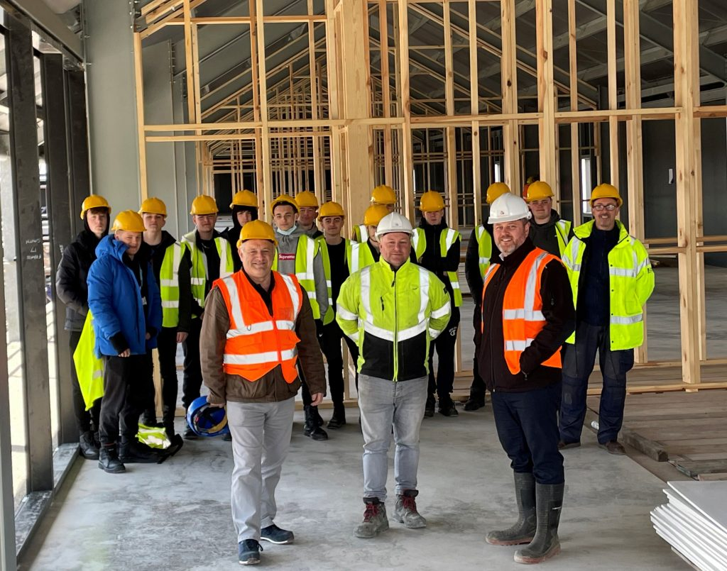 Students and tutors on site at the Glass Yard development with Mascot Management